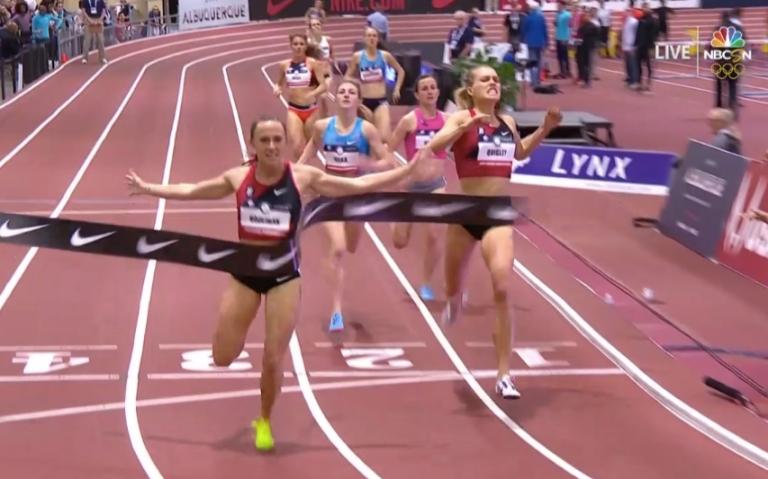 Shelby Houlihan cruza la meta en los 1500m del campeonato nacional de Albuquerque (Foto Citius Mag)